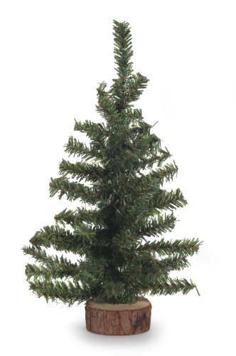 "Darice Canadian Pine Tree with Wood Base: 60 Tips, 12 inches, 12"", Green"
