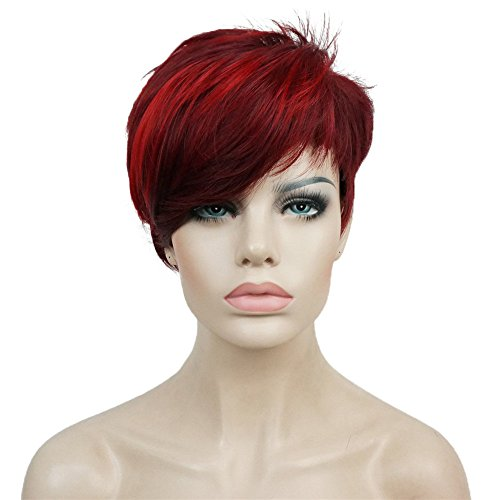 Aimole Synthetic Short 6 Inches Red/Drakest Brown Straight