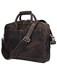 Men Genuine Leather Briefcase 17 Laptop Handbag Retro Brown Tote Shoulder Bags