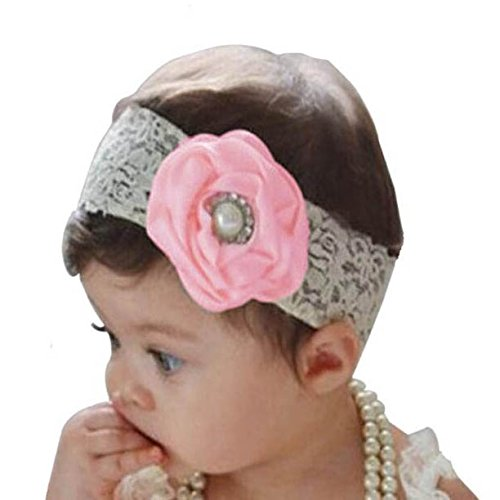 claro Akaayuko Lace Girl Faux Pearl 1 Baby Flower Hairbands Pink pieza 7vq7SO