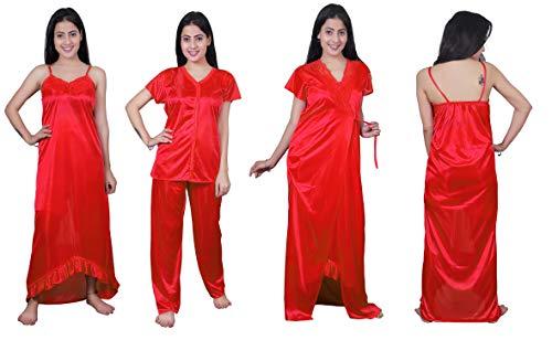 Girl's Satin Solid Nightwear set (Pack of 4)