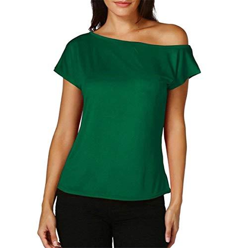 Senza di One Accogliente Moda Shirt Chic Slim Spalline Estivi Manica Magliette Tshirts Camicetta Donna Corta Shoulder Elegante Ragazza qualità Alta Fit Grün Monocromo UTnqX0