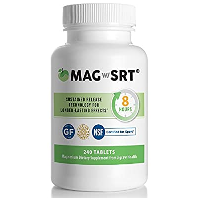 MagSRT - Premium, Organic, Slow Release Magnesium Malate Supplement - Active, Bioavailable Tablets with B-Vitamin Co-Factors, 240 Tablets per Bottle