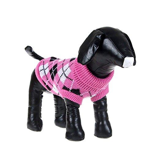 Image of PanDaDa Small Pet Dog Plaid Style Sweater Knitwear Coat Apparel Dark Pink Small