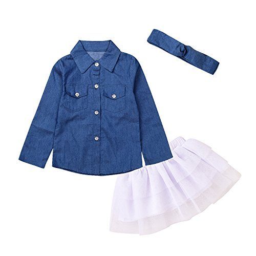 (3pc Cute Baby Girl Blue Jean Shirt +Princess Tulle Overlay Lace Dress+Headband (110(3-4Y), Blue+White))