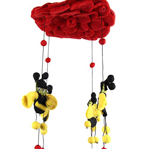 Global Groove Red Felt Bumble Bee Mobile ()