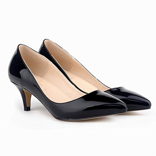 Women's Slender Pointed Black Kitten Shoes Pumps Court Toe Heels SAMSAY 1CPFdpFq