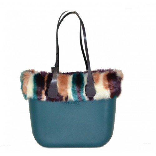 Bolsa o Bag Grande ottanio asas largos bordo Eco pelo y bolsa Boucle