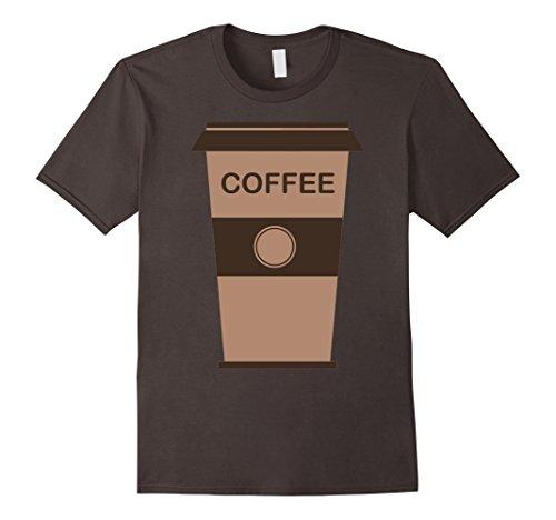 Coffee Cup Costume (Mens Coffee Cup Costume Shirt Roasted Beans Brewed Drink Beverage Medium Asphalt)