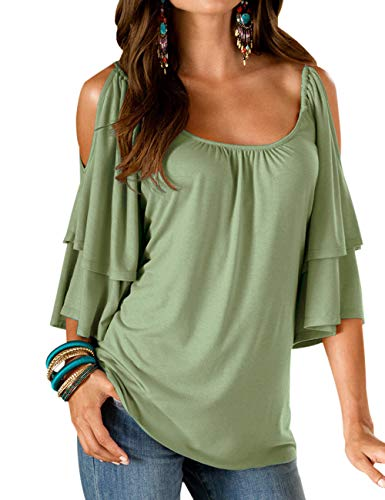 LOMON T-Shirts for Women Summer Tops Off Shoulder Loose Cold Tunic Shirt Strap Ruffle Sleeves Blouse Army Green