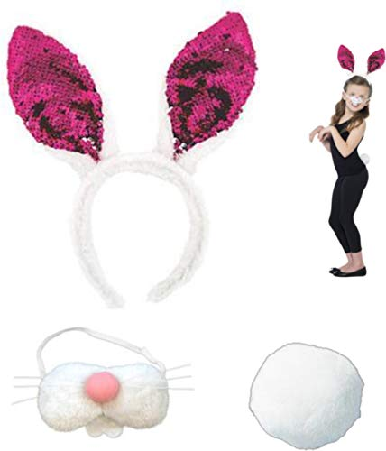 Easter Bunny Costume Accessories - Reversible Sequin Ears - Plush Nose with Teeth and Fluffy Cotton Ball -