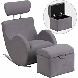 Flash Furniture HERCULES Series Fabric Rocking Chair with Storage Ottoman, Gray