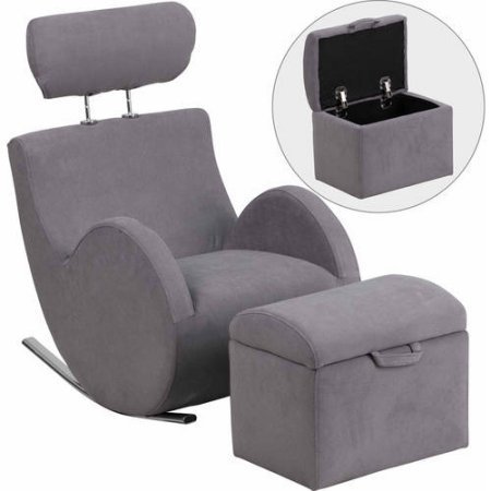 Flash Furniture HERCULES Series Fabric Rocking Chair with Storage Ottoman, Gray generic