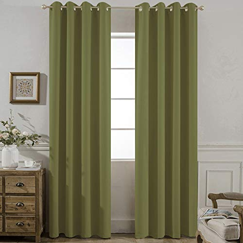 Yakamok Olive Blackout Curtains Room Darkening/Light Blocking/Thermal Insulated Draperies Solid Grommet Bedroom/Living Room/Dining Room Window Treatments 2 Panels, 52 x 84 Inch ()