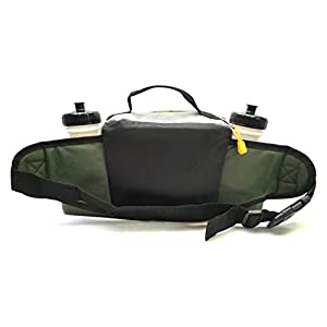 Premium Fanny Waist Lumbar Pack with Water Bottle Holder Hiking Climbing Walking Outdoors by Everest, Includes 2 Everest Squeeze Bottles (Green)