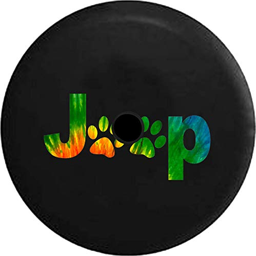 (JL Series Jeep Spare Tire Cover with Backup Camera Hole Jeep Paw Prints Peace Love Tiedye Black 33 in)