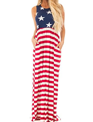 Long Printing Day Flag Maxi Independence Women As5 Dress Coolred Multicolor pvWAFnCxx