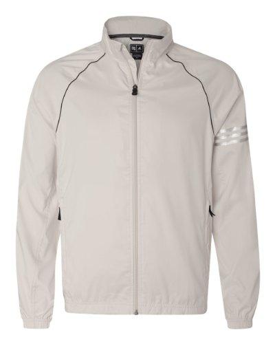 Adidas A69 Golf Men's ClimaProof 3-Stripes Full-Zip Jacket- Ecru/Black/Sterling A69 M