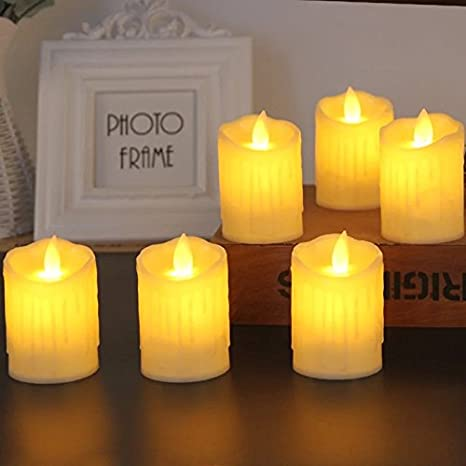 Satyam Kraft Flameless LED Candles(Pack of 3) with Dancing Flame Battery Operated Candles (Yellow)