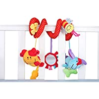 Biowow Infant Baby Crib Mobile Ornament Hangings Rattle Toy Activity Spiral Bed Bassinet Stroller Rail Toy Plush Animal Baby Car Seat Toy
