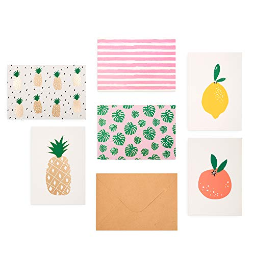 Outshine 48 Blank Greeting Note Cards with Envelopes in Cute Storage Box (6 Designs) | Bulk All Occasion Notecards | 3.5