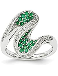 14k White Gold Green Emerald Diamond Swirl Band Ring Size 7.00 Gemstone Fine Jewelry For Women Gift Set