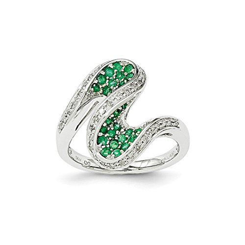 14k White Gold Green Emerald Diamond Swirl Band Ring Size 7.00 Gemstone Fine Jewelry For Women Gift Set -