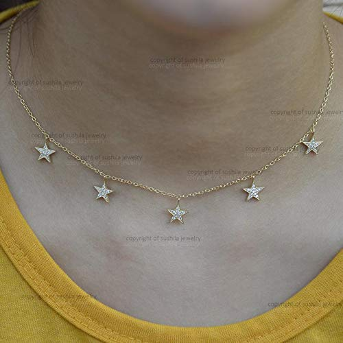 - Genuine Pave SI Clarity G Color Diamond Star Charm Choker Necklace in Solid 14k Yellow Gold Pendant Necklace Handmade Minimalist Jewelry