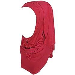 Clearance Muslim Ramadan Pure Color Shawl Scarf Head Cover Headscarf Muffler for Women/Ladies/Girls (180cm50cm, Red B)