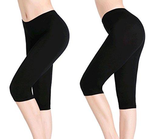Spandex Reversible Skirt (CnlanRow Women Under Skirt Capri Pants - Ultra Soft Stretch Capris Leggings Summer)