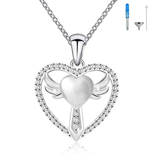 925 Sterling Silver Cremation Jewelry Cross Angel Wings Urn Ashes Heart Keepsake Memorial Necklace