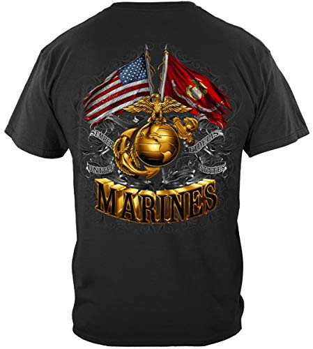 US Marine Corps Short Sleeve Shirts, 100% Cotton Casual Mens Shirts, Show Your Pride with Our Double Flag Gold Globe Marine Corps Foil Stamp Unisex T-Shirts for Men Women (Medium)