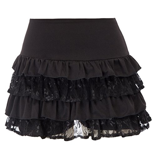SCARLET DARKNESS Steampunk Victorian Punk Cincher Lace up Ruffled Mini Skirt SL4-1 2XL Black