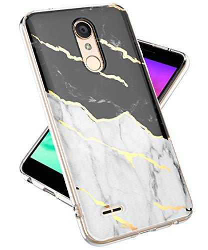 LG K30 Phone Case,LG Phoenix Plus Case, LG Premier Pro LTE Case,lovemecase Marble Design Clear Bumper TPU Soft Case Rubber Silicone Skin Cover for LG K30(White Black Marble)