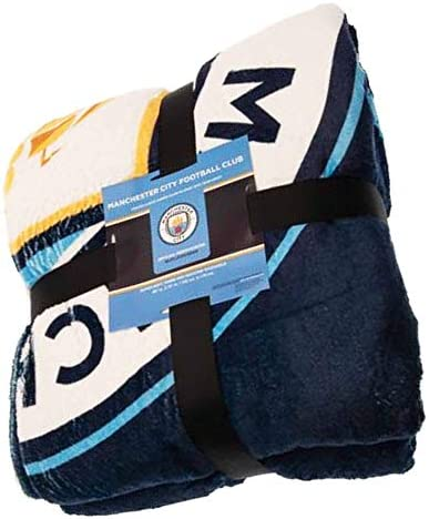 MCFC Giant Manchester City Couverture Sherpa en polaire 100 % polyester 178 x 152 cm