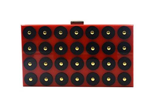 Mode WenL De Sac Soirée Sac en Bandoulière Mini Red à épaule Acrylique Rectangulaire wwBzFq