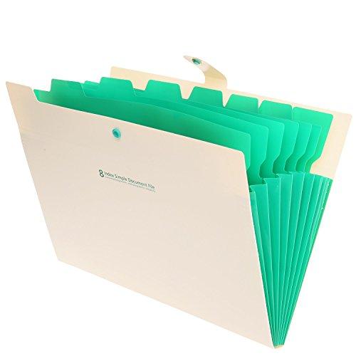 Skydue Portable Accordion Document File Folders Expanding Letter Organizer, 8 Pockets (Beige)