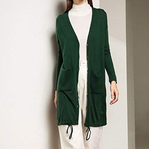 Xxl Lunga Maglione Sottile Cappotto Manica Cardigan m Donna Media Xl Esterno Green E L Sezione Abbigliamento Da D'autunno Sciolto 0vTxq8