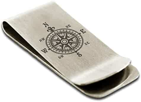 Stainless Steel Abe Samurai Crest Engraved Money Clip Credit Card Holder