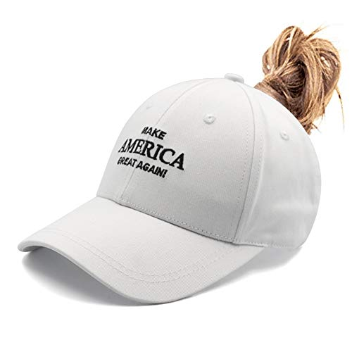 b590ce9f32e453 Keep Make America Great Again Embroidered Messy High Buns Ponytail Cap USA  Adjustable Baseball Hat