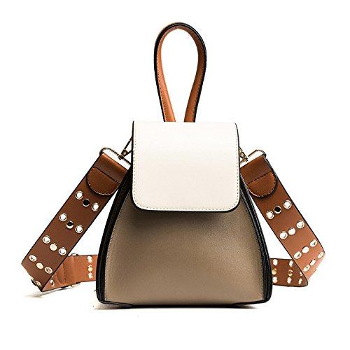Bucket Bag Leather Rivet Pu Women Wide Shoulder Strap Shoulder Diagonal Package Handbag Fashion Hit The Color, Khaki