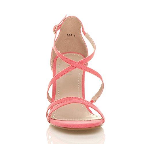 Talon Taille Daim Rose Femmes Chaussures Bal Corail Lanières Sandales Mariage croisé Haut Moyen Pastel d6z61aOf