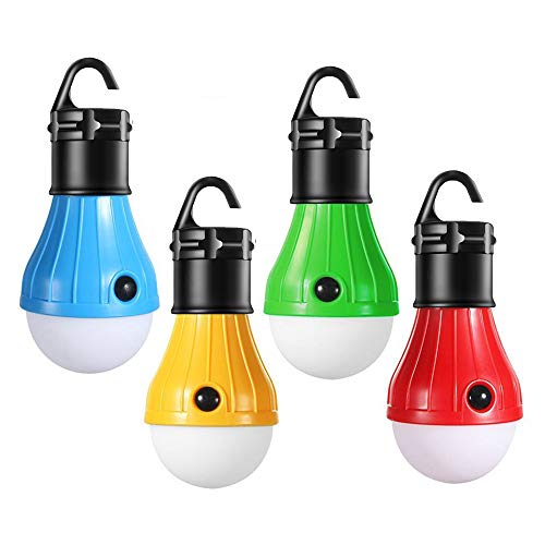 T&HOME LED Camping Light, [4 Modes] Portable LED Camping Tent Lantern for Hurricane Emergency Hiking Fishing Storm Outage Battery Powered Outdoor Tent Lamp AAA Batteries Not Included [ 4 Pack ]
