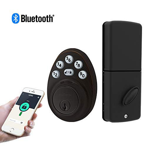 Signstek Bluetooth Keypad Deadbolt Lock with APP, Password and Keys, Oil Rubbed Bronze