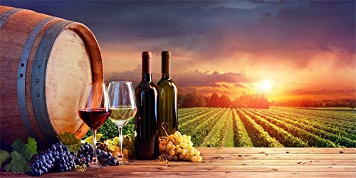 (Canessioa 10x5ft Vinyl Backdrop for Photography Bottles and Wineglasses with Grapes and Barrel in Rural Scene Orchard Scenery Red Wine Still Life Vineyard Background Studio Props Video Wallpaper)