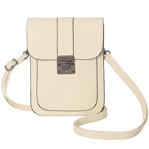 Beige Cell Phone - MINICAT Women Simple Series Small Crossbody Bags Synthetic Leather Cell Phone Purse Wallet(Beige)