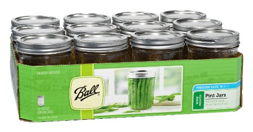 Ball Mason Wide Mouth Pint Jars with Lids and Bands, 16 oz, Set of 12