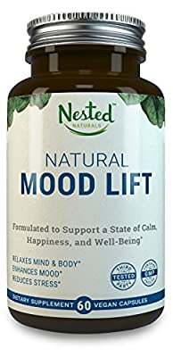 Natural Mood Lift - Relaxes Mind & Body, Calms, Boosts Serotonin, Reduces Anxiety | Nested Naturals | 3rd Party Tested, Vegan, Non-GMO - Made with 5-HTP, Magnesium, L-Methionine, Vitamin B5 & B6