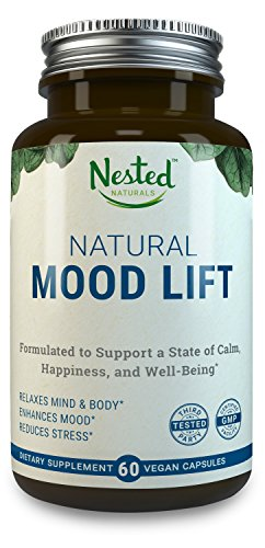 Natural Mood Lift - Relaxes Mind & Body, Calms, Boosts Serotonin, Reduces Anxiety | Nested Naturals | 3rd Party Tested, Vegan, Non-GMO - Made with 5-HTP, Magnesium, L-Methionine, Vitamin B5 & B6 (Homeopathic Depression)