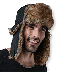 9a08a30e1bb Trapper Hat with Faux Fur   Ear Flaps - Ushanka Aviator Russian Hat for  Serious Expeditions